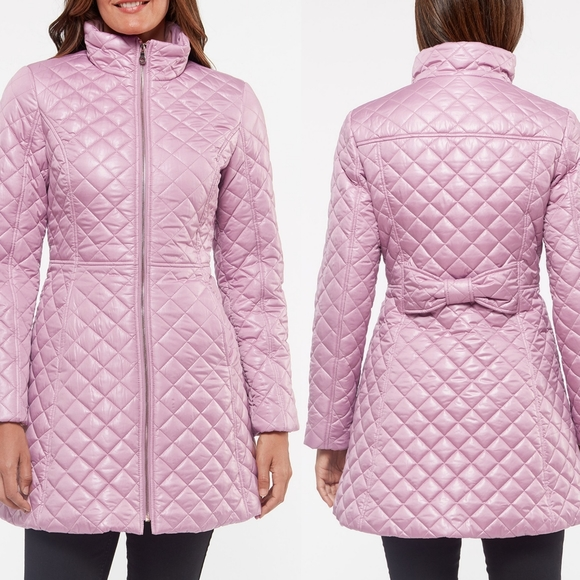 🆕 KATE SPADE Diamond Quilted Coat Jacket With Bow